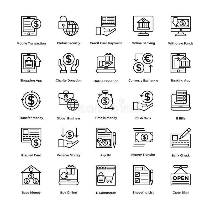 Los iconos del vector de las compras fijaron 3 stock de ilustración