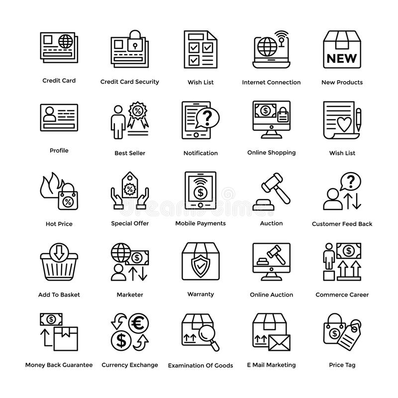 Los iconos del vector de las compras fijaron 8 ilustración del vector