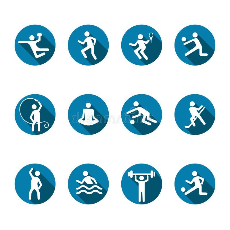 Los iconos del vector del deporte fijan, el logotipo plano de la aptitud, emblema del equipo y escogen juegos Atleta blanco de la ilustración del vector