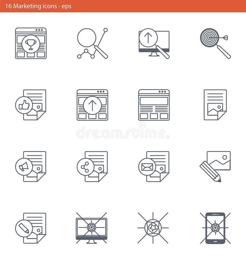 Los iconos del vector EPS fijaron - márketing y publicidad en estilo del esquema ilustración del vector