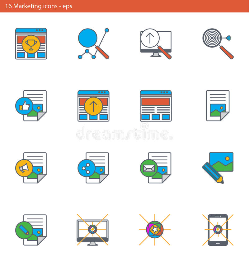 Los iconos del vector EPS fijaron - márketing y publicidad en estilo del esquema stock de ilustración