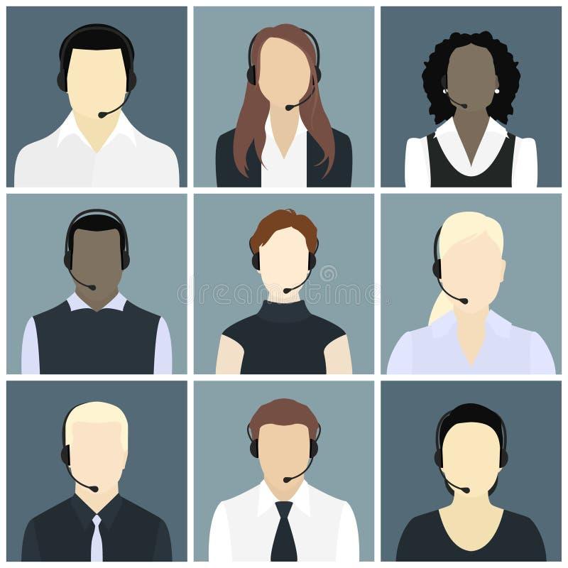 Los iconos del vector fijaron a avatares del centro de atención telefónica en un estilo plano stock de ilustración
