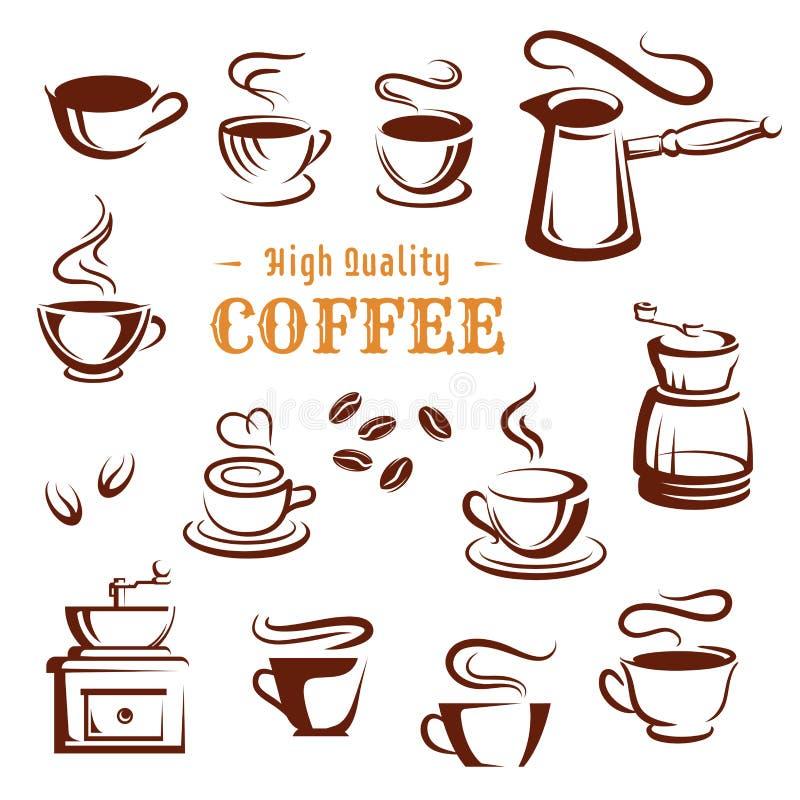 Los iconos del vector fijaron de las tazas y de los fabricantes de café ilustración del vector