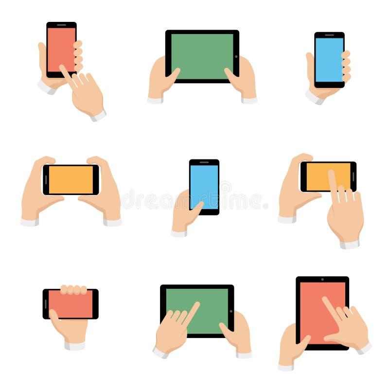 Los iconos del vector fijaron de smartphone y de la tableta en manos ilustración del vector