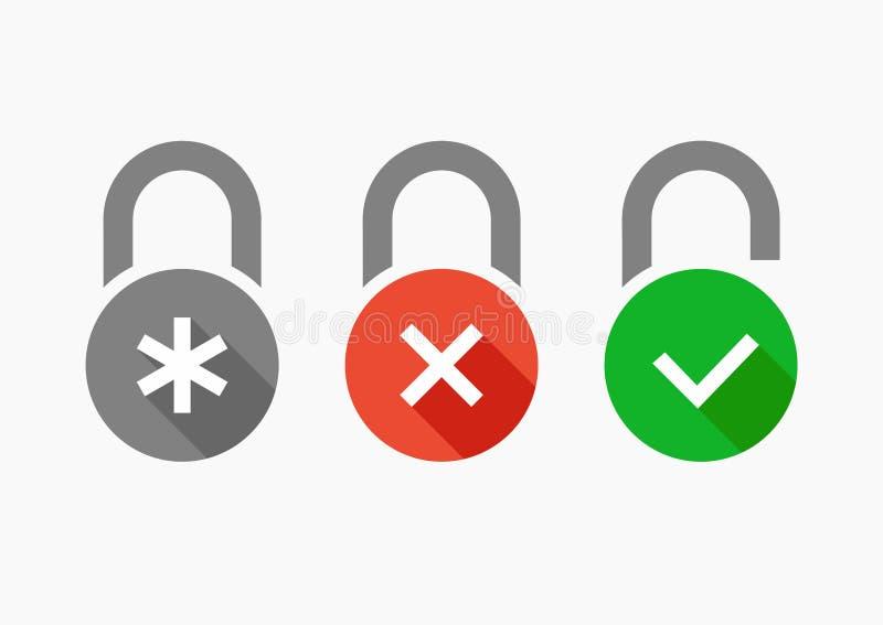 Los iconos del vector fijaron la cerradura de combinación libre illustration
