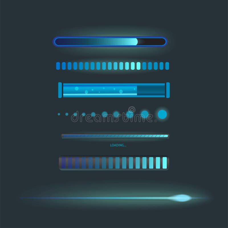 Los iconos del vector para el interfaz del cargamento de Internet del web del diseño de las aplicaciones móviles transfieren el m ilustración del vector