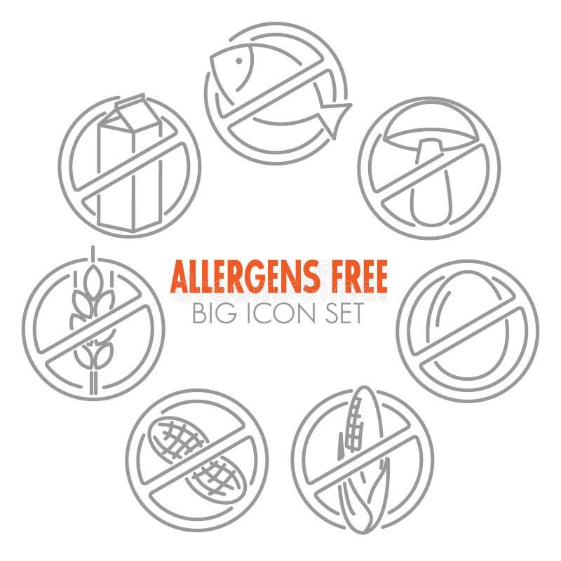 Los iconos del vector para los alergénicos liberan productos ilustración del vector