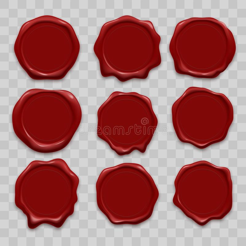 Los iconos del vector del sello de la cera del sello fijaron etiquetas realistas rojas de los sellos de la cera de lacre de vieja stock de ilustración