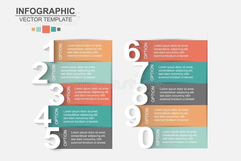 Los iconos del vector y del márketing del diseño del infographics de la cronología pueden ser u stock de ilustración