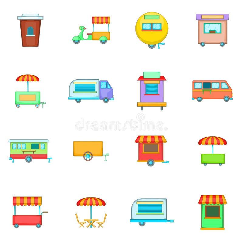 Los iconos del vehículo del quiosco de la comida de la calle fijaron, estilo de la historieta ilustración del vector