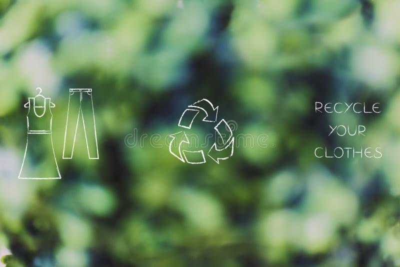 Los iconos del vestido y de los pantalones con reciclan el logotipo imágenes de archivo libres de regalías