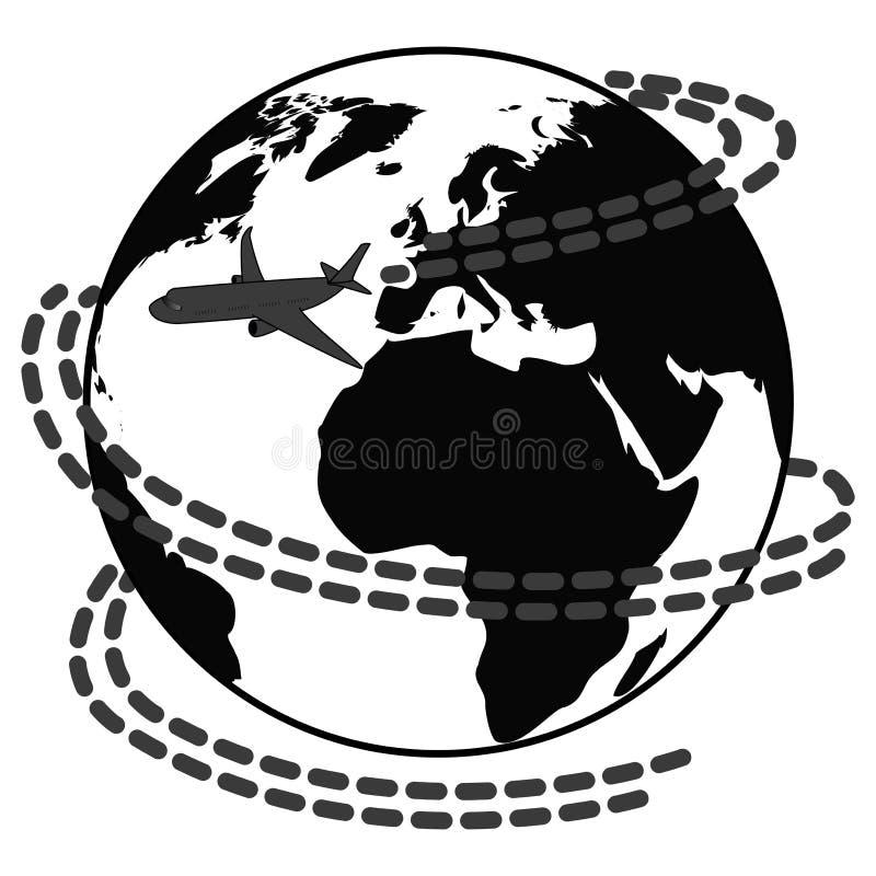 Los iconos del viaje con el aeroplano vuelan alrededor de la tierra libre illustration
