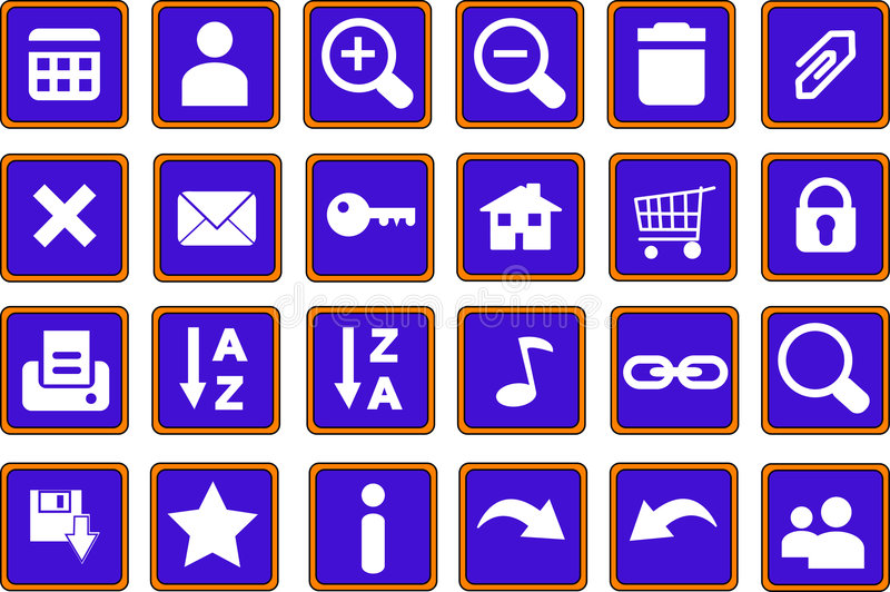 Los iconos del Web abotonan 1 azul foto de archivo