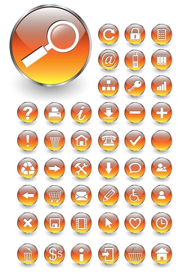Los iconos del Web, botones fijaron stock de ilustración