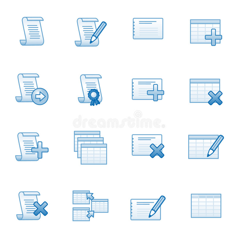 Los iconos del Web de la base de datos fijaron 1, serie azul stock de ilustración