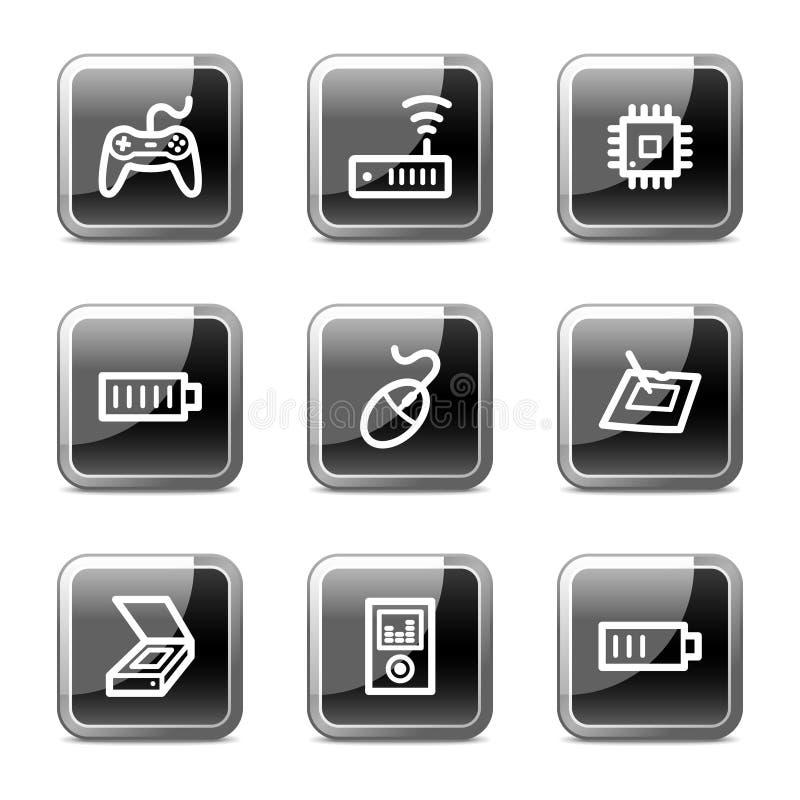 Los iconos del Web de la electrónica fijaron 2, serie brillante de los botones stock de ilustración