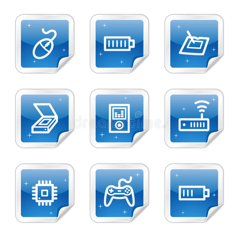 Los iconos del Web de la electrónica, serie azul de la etiqueta engomada fijaron 2 stock de ilustración