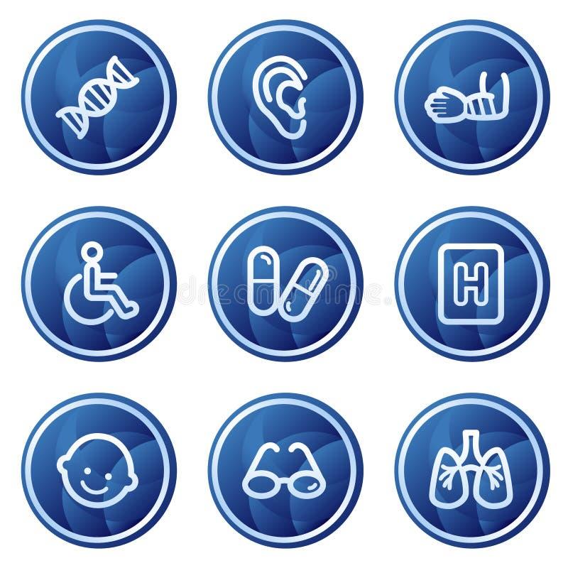 Los iconos del Web de la medicina fijaron 2, botones azules del círculo imagen de archivo