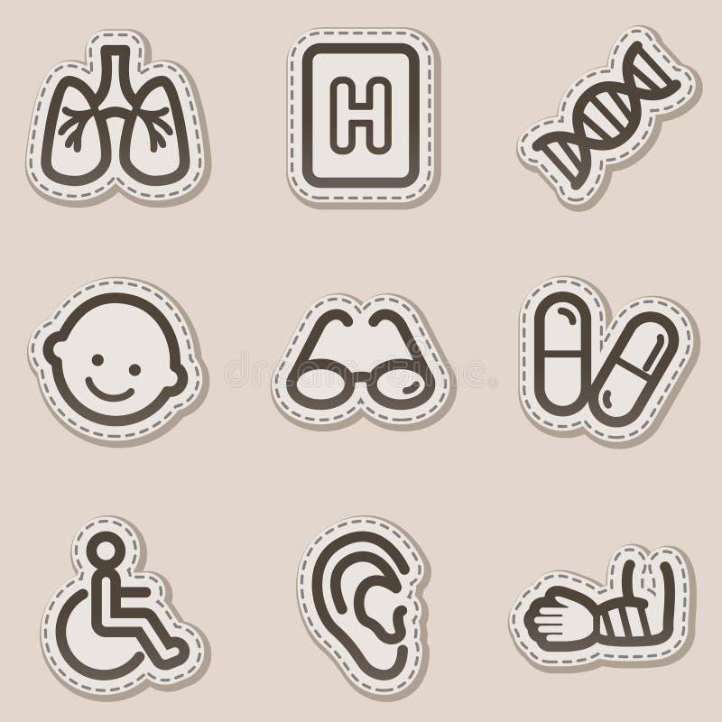 Los iconos del Web de la medicina fijaron 2, etiqueta engomada marrón del contorno stock de ilustración