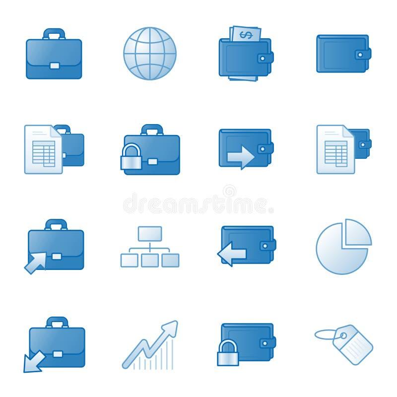 Los iconos del Web de las actividades bancarias fijaron 1, serie azul stock de ilustración