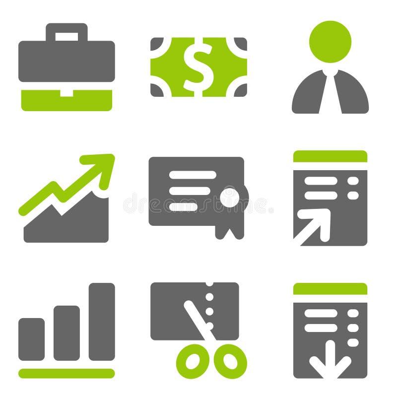 Los iconos del Web de las finanzas fijaron 1, iconos sólidos grises del verde stock de ilustración
