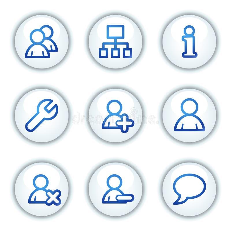 Los iconos del Web de los utilizadores, el círculo blanco abotonan serie ilustración del vector