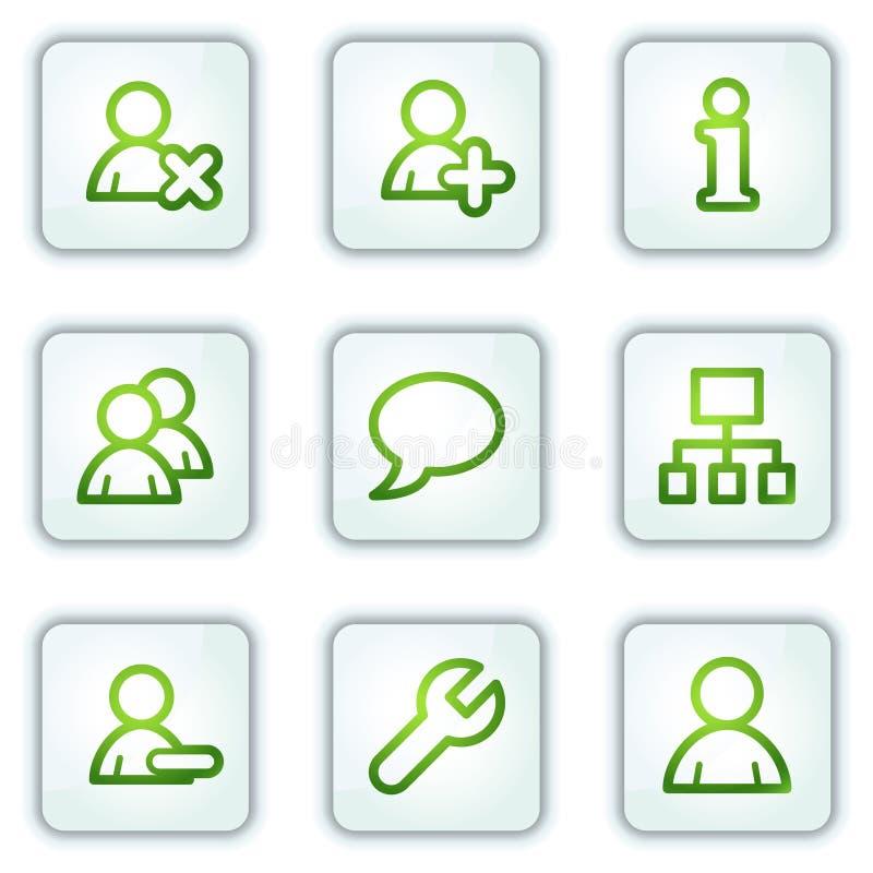 Los iconos del Web de los utilizadores, la casilla blanca abotonan serie stock de ilustración