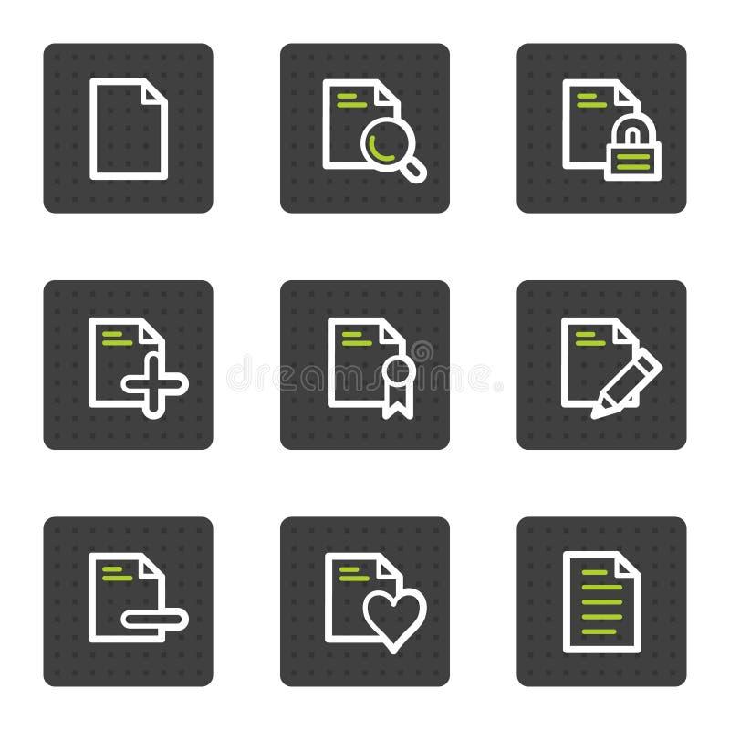 Los iconos del Web del documento fijaron 2, botones cuadrados grises ilustración del vector