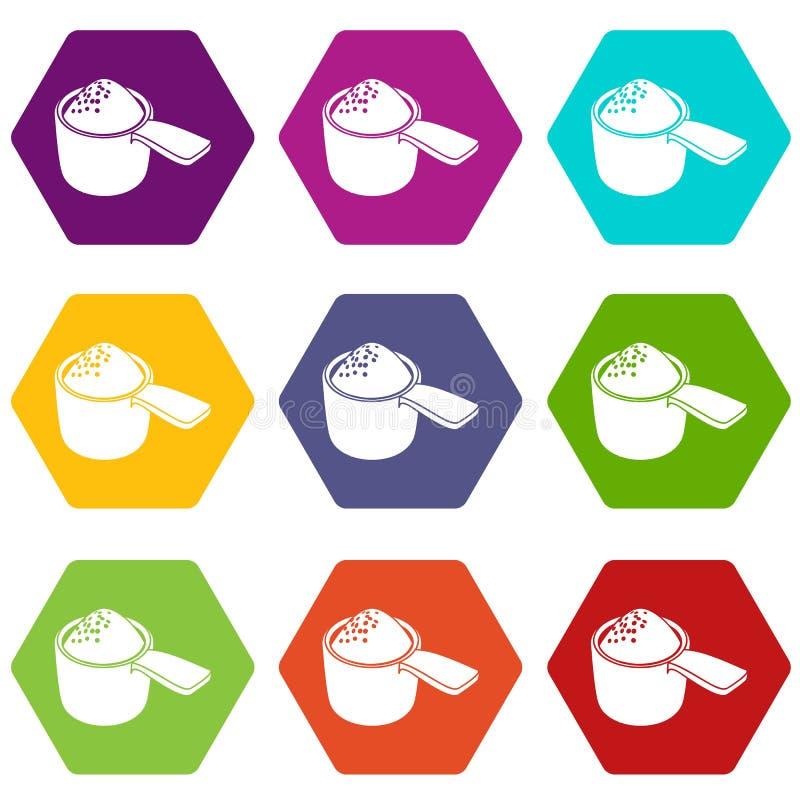 Los iconos detergentes de la dosis fijaron el vector 9 ilustración del vector