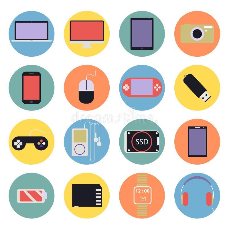 Los iconos digitales de las multimedias de la nueva tecnología fijaron d plana libre illustration