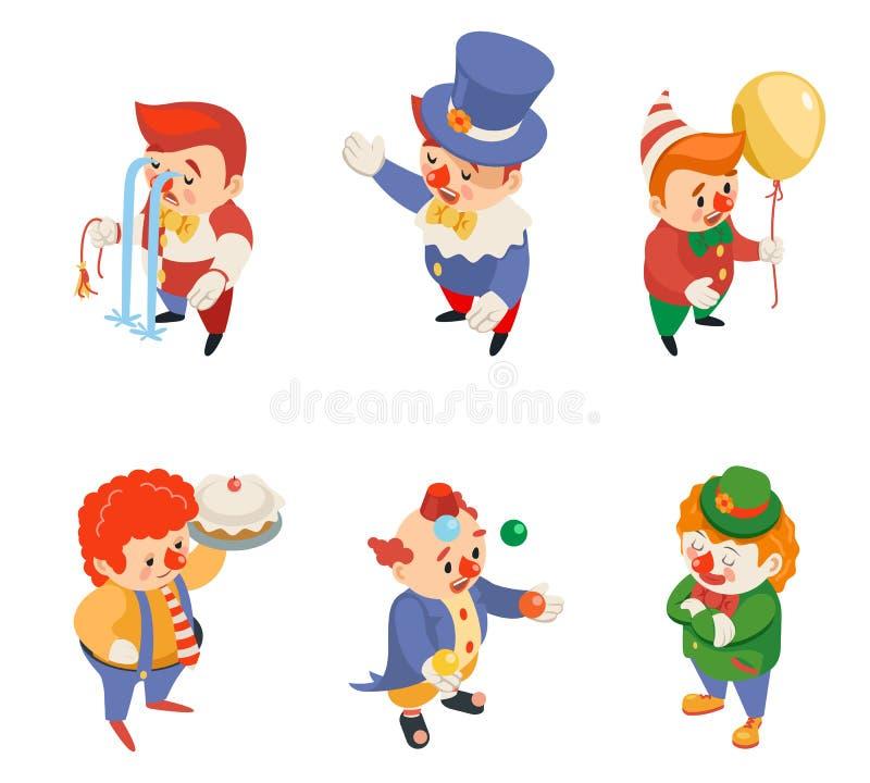 Los iconos divertidos de los caracteres del funcionamiento del circo del partido de la diversión de los payasos isométricos del c ilustración del vector