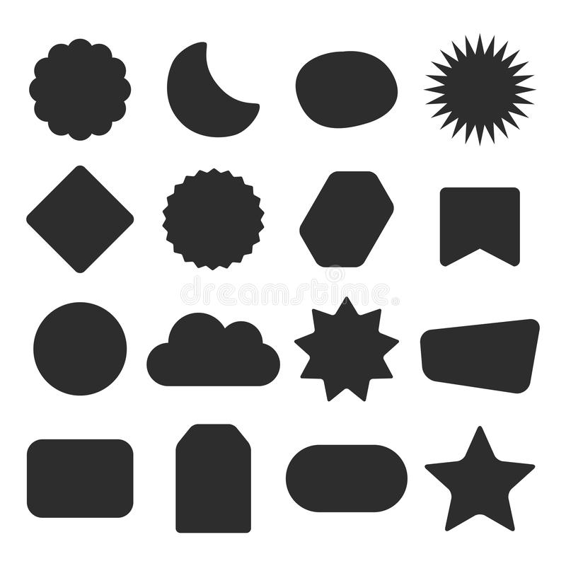 Los iconos en blanco aislados silueta negra de las etiquetas de diversas formas diseñan el sistema de elementos en blanco libre illustration