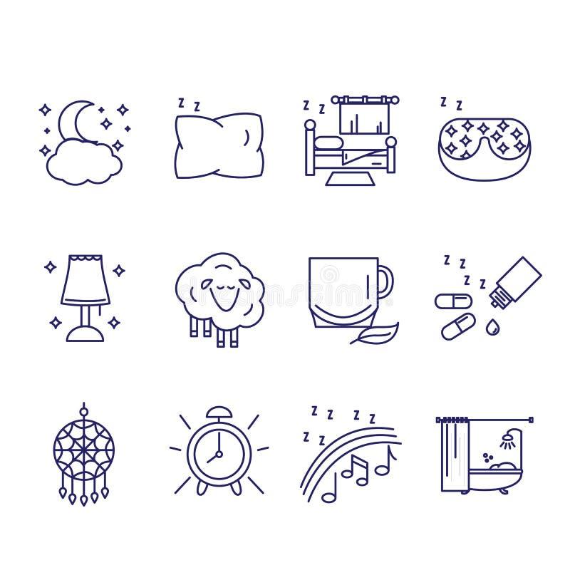 Los iconos en el estilo del esquema de los caracteres del sueño y del insomnio sanos ilustración del vector