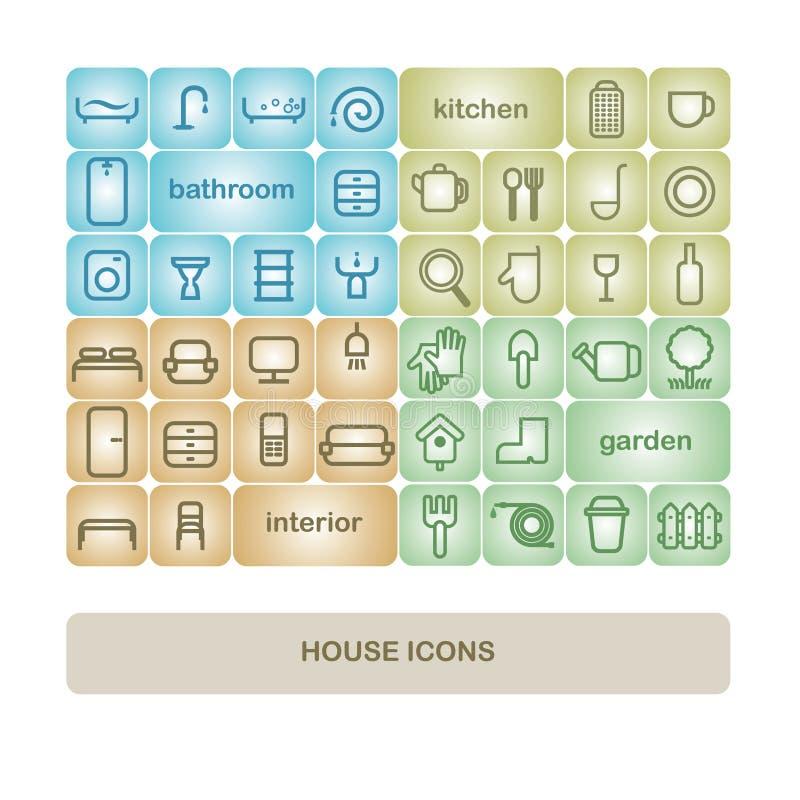 Los iconos en el tema casero ilustración del vector