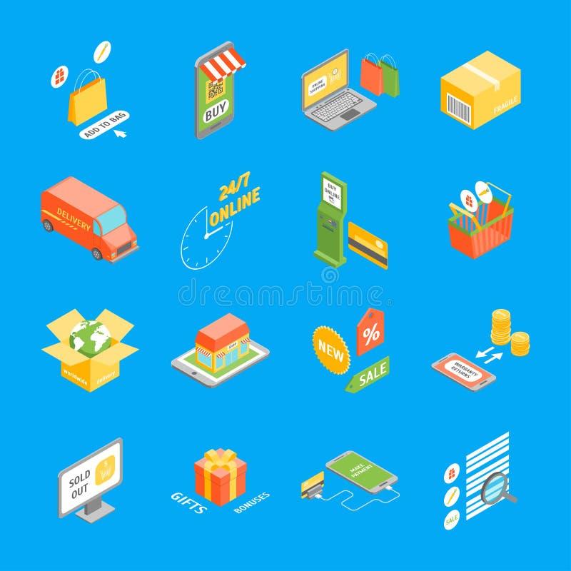 Los iconos en línea de las compras fijaron la visión isométrica Vector libre illustration
