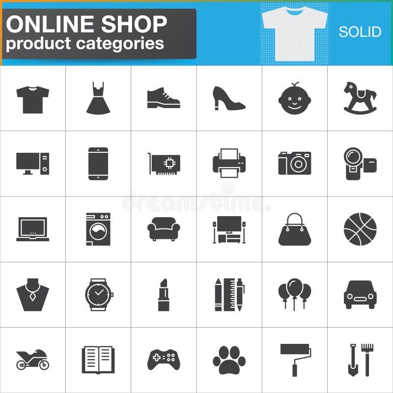 Los iconos en línea del vector de las categorías de producto de las compras fijaron, sólido moderno stock de ilustración