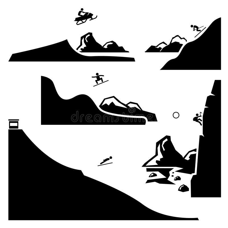 Los iconos extremos Cliparts de los deportes fijaron 4 stock de ilustración
