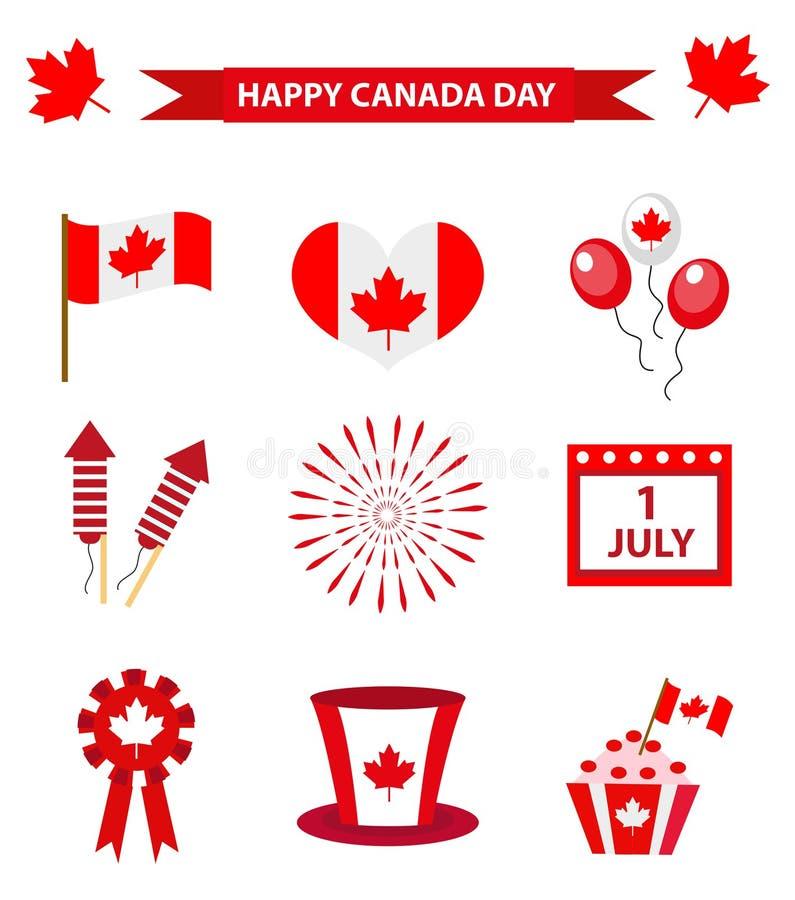 Los iconos felices del día de Canadá fijaron, los elementos del diseño, estilo plano 1 de julio día nacional de colección del día libre illustration