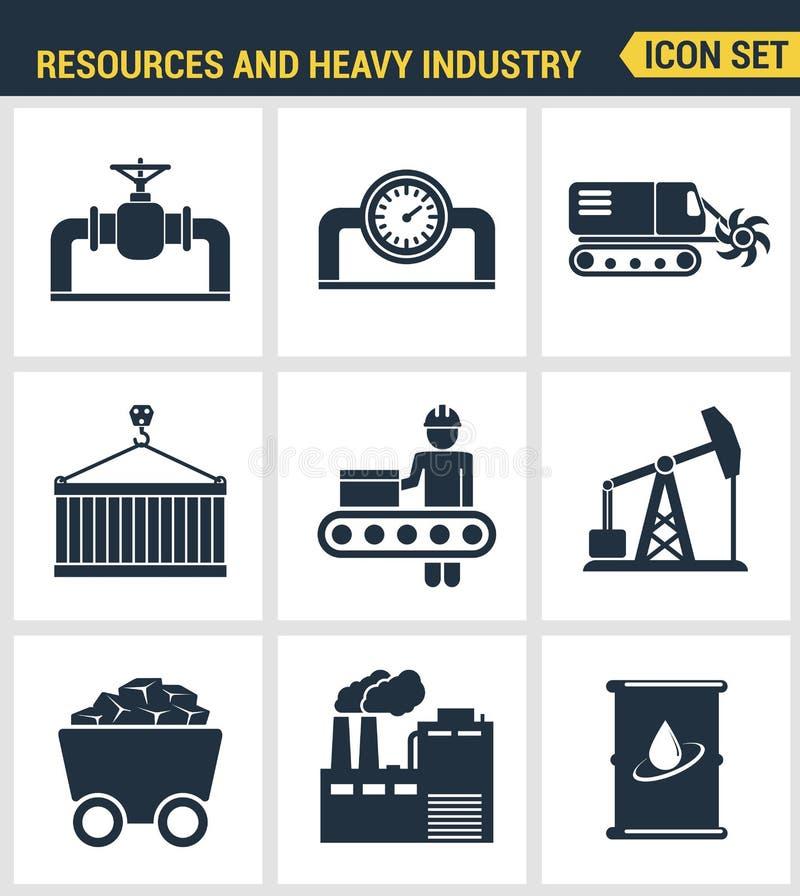 Los iconos fijaron calidad superior de la industria pesada, central eléctrica, minando recursos Símbolo plano c del estilo del di stock de ilustración