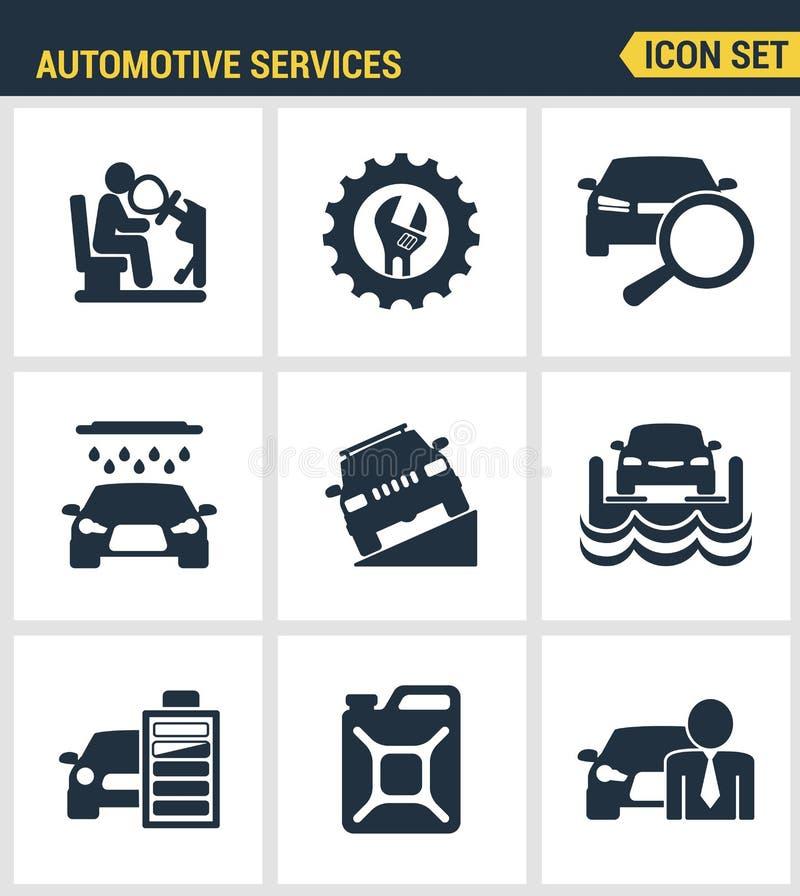Los iconos fijaron calidad superior del sistema automotriz del técnico del transporte de los servicios Colección moderna del pict stock de ilustración