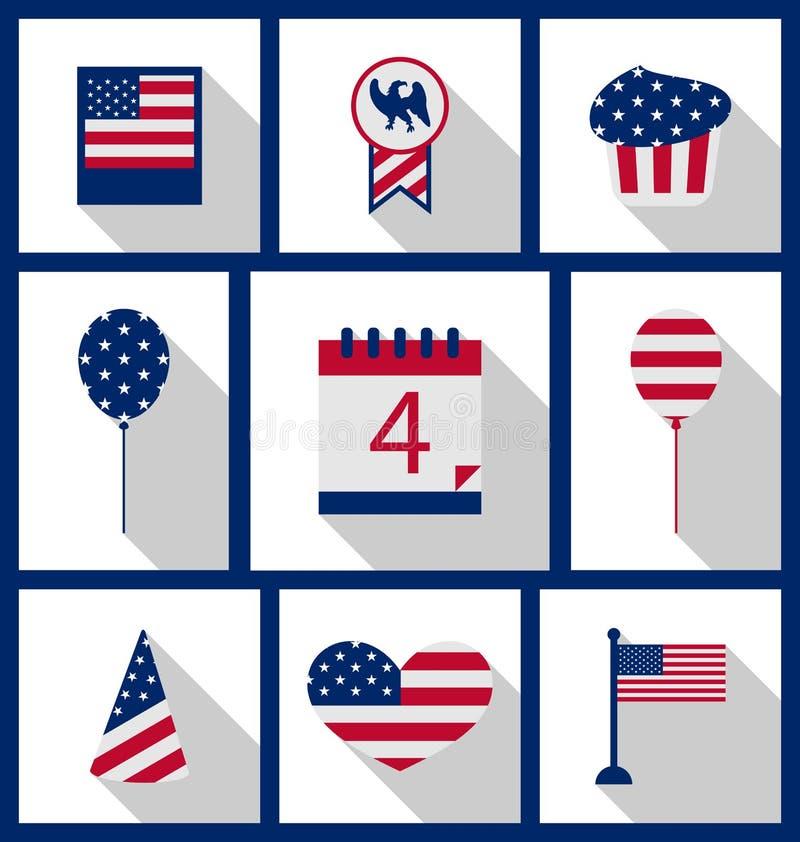 Los iconos fijaron Día de la Independencia del color de la bandera de los E.E.U.U. el 4 de julio ilustración del vector