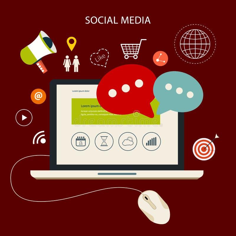 Los iconos fijaron de la nube que computaba medios sociales analíticos ilustración del vector