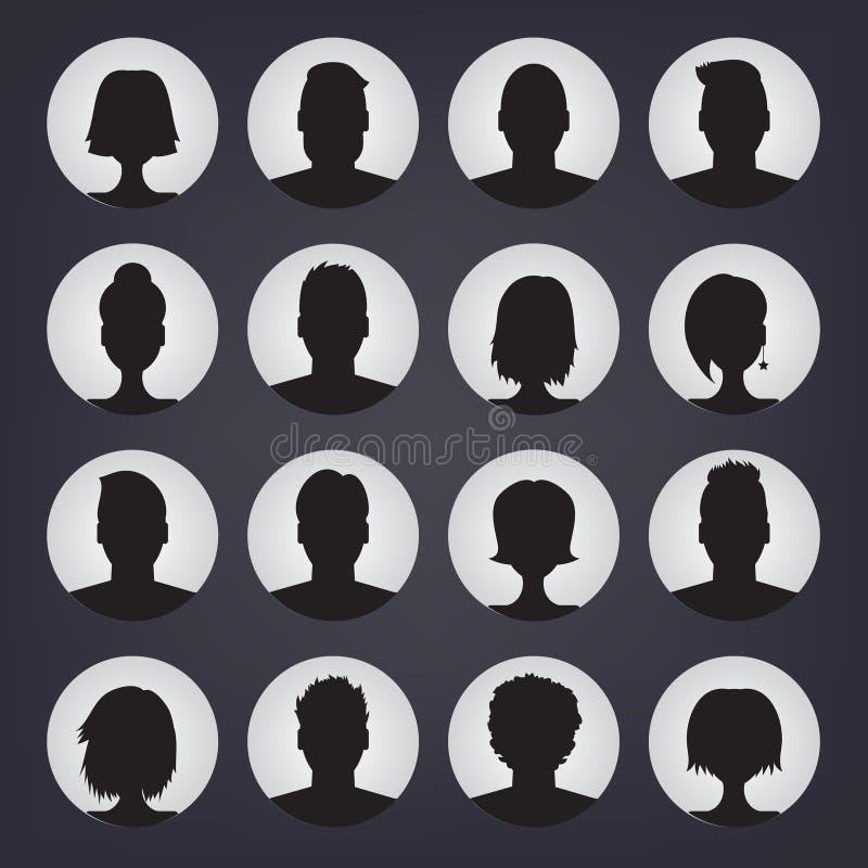 Los iconos fijaron de los avatares elegantes de la gente para la página del perfil libre illustration