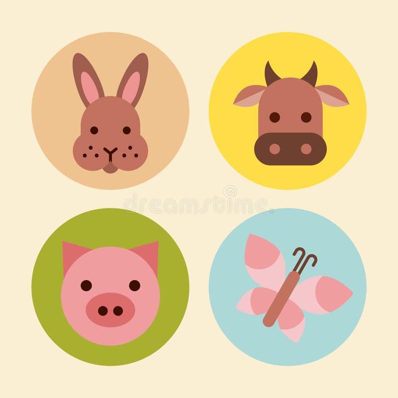 Los iconos fijaron el animal del campo ilustración del vector