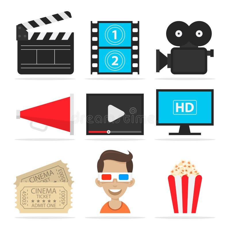 Los iconos fijaron el cine stock de ilustración