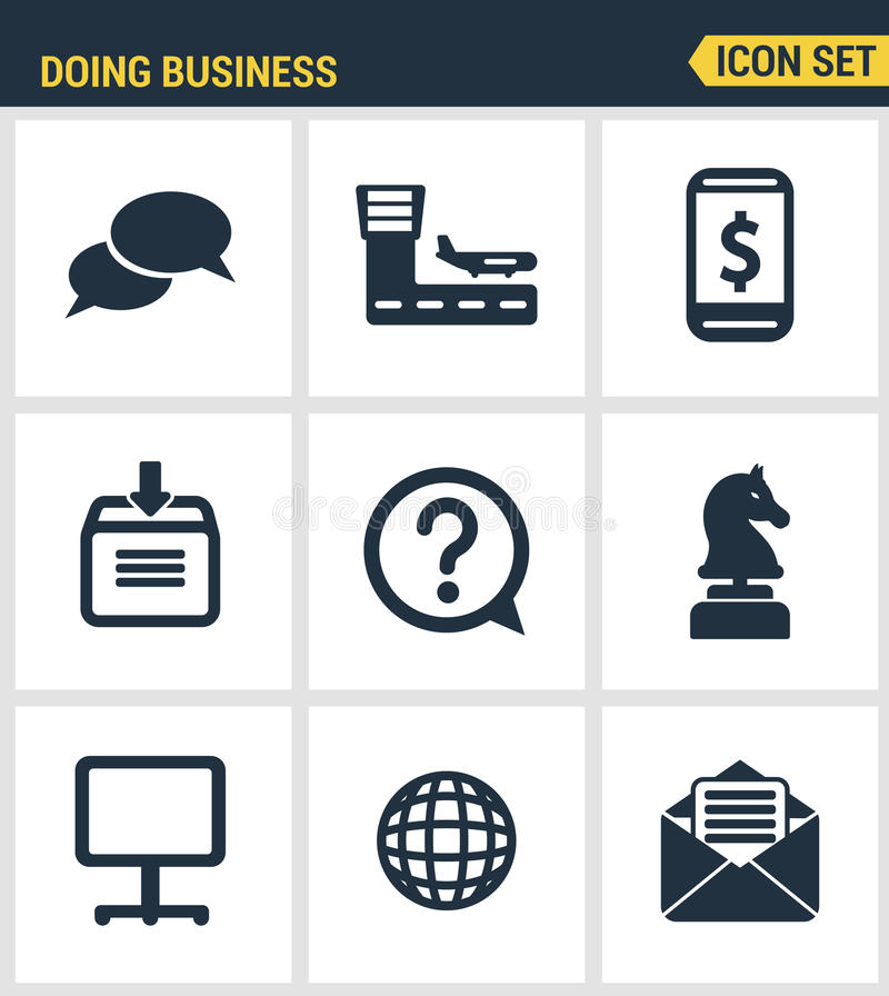Los iconos fijaron la calidad superior de hacer negocio usando tecnología y la comunicación Diseño plano de la colección moderna  libre illustration