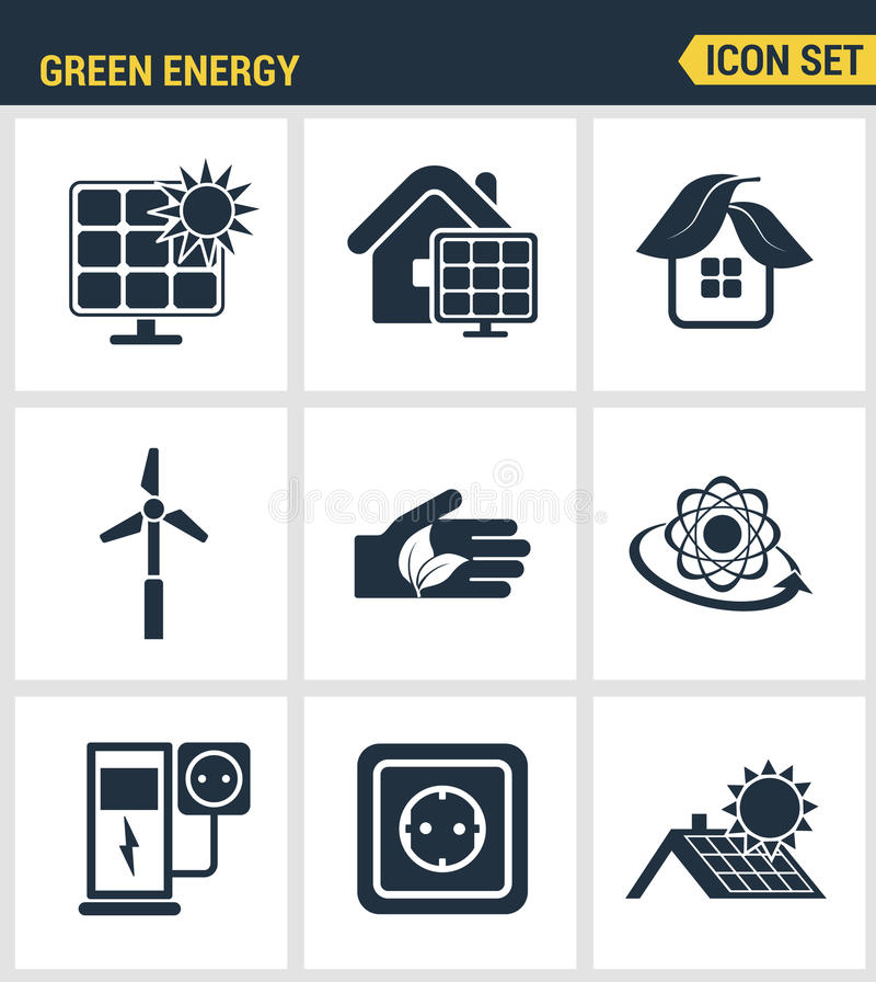 Los iconos fijaron la calidad superior de la energía verde amistosa del eco, fuentes limpias de poder ilustración del vector