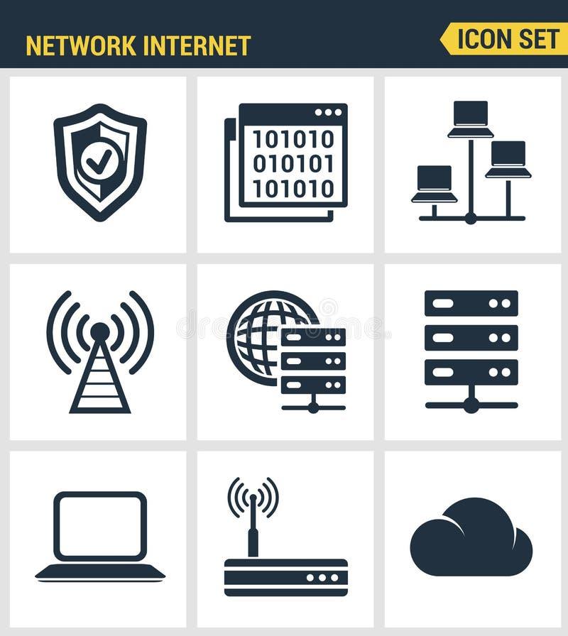 Los iconos fijaron la calidad superior de la red de computación de la nube stock de ilustración