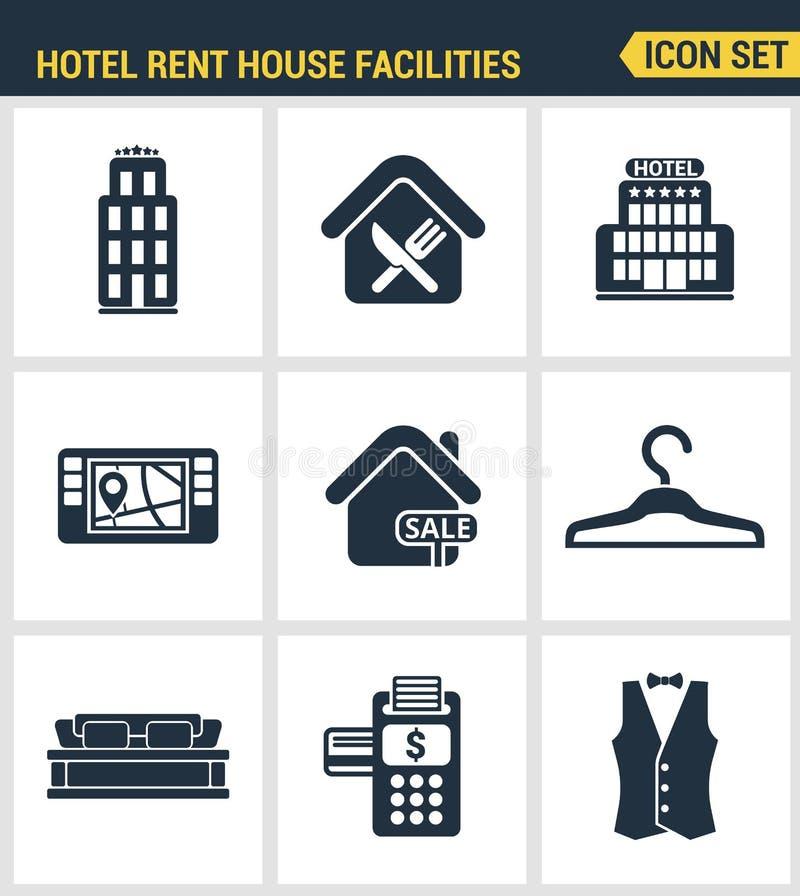 Los iconos fijaron la calidad superior de las amenidades del servicio de hotel, instalaciones de la casa de alquiler Diseño plano stock de ilustración