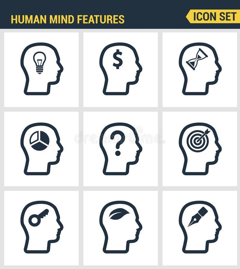Los iconos fijaron la calidad superior de las características de la mente humana, identidad del perfil de los caracteres Diseño p ilustración del vector